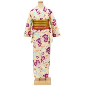 洗える 京のちたる 袷きもの(M/Lサイズ) イエロークリーム椿 笹 松 桜 tosen
