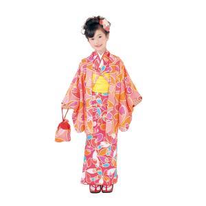 呉服屋 新柄 ちびっこおでかけ着物6点セット 濃ピンク オレンジ系 Club H・L アッシュエル セット内容(きもの、羽織、長襦袢、兵児帯、履物、巾着) 子供 女児 tosen