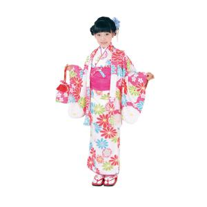 呉服屋 新柄 ちびっこおでかけ着物6点セット 白 濃ピンク系 Club H・L アッシュエル セット内容(きもの、羽織、長襦袢、兵児帯、履物、巾着) 子供 女児 女の子 tosen