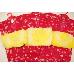【2014年新柄!子供浴衣セット(子供浴衣+兵児帯)】かわいい子供浴衣です! 夏祭り、花火大会にはぜ...