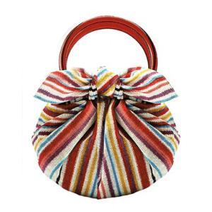 むす美 モダンガール いちごバッグ しましま 取り寄せ商品 むす美 musubi 掲載 和小物 風呂|tosen