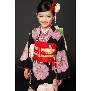 紅一点 正絹 日本製 生地使用 七五三 7歳 着物 ブランド 黒ねじり梅 7歳児用 女の子 単品 子...