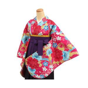 和遊日 二尺袖着物 単品 濃ピンク系花 晴れ着 子ども着物 和服 子ども着物アンサンブル tosen