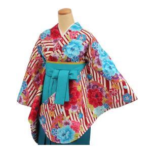 和遊日 二尺袖着物 単品 赤 薄クリーム系花 子ども着物 和服 子ども着物アンサンブル tosen