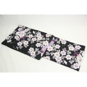 女性用ブランド浴衣黒薄ピンク花奈々緒女物祭り浴衣セット浴衣3点セットレディース着物、浴衣浴衣浴衣、帯セット4点セット以上