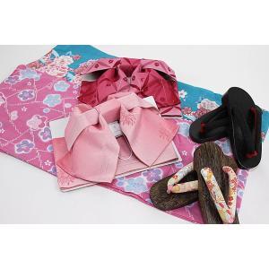 浴衣3点セット<浴衣+作り帯+下駄>選べる福袋 レディース 大人 浴衣セット フリーサイズ 仕立て上がり コーディネートセット セット固定 結び帯