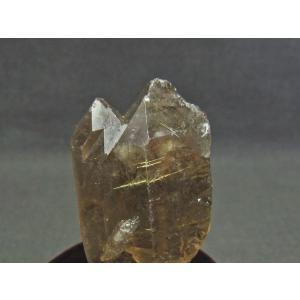 スモーキークォーツ 煙水晶 原石 ルチルクォーツ入り 台座付属 171-539|tosho-stones|03