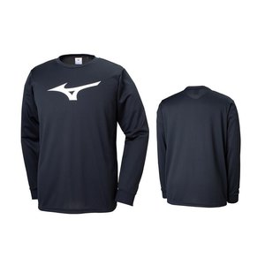 ミズノ mizuno 長袖 Tシャツ メンズ レディース 32MA914509 ブラック×ホワイト|totai