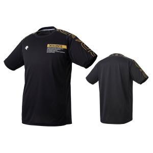 デサント DESCENTE バレーボール 半袖 プラクティスシャツ メンズ レディース DVUQJA51-BKGD ブラック×ゴールド|totai