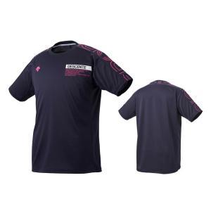 デサント DESCENTE バレーボール 半袖 プラクティスシャツ メンズ レディース DVUQJA51-NVMZ ネイビー×マゼンタ|totai