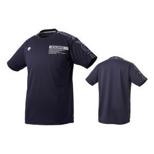デサント DESCENTE バレーボール 半袖 プラクティスシャツ メンズ レディース DVUQJA51-NVSV ネイビー×シルバー|totai