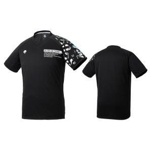 デサント DESCENTE バレーボール 半袖 プラクティスシャツ メンズ レディース DVURJA54-BKSA ブラック×サックス|totai