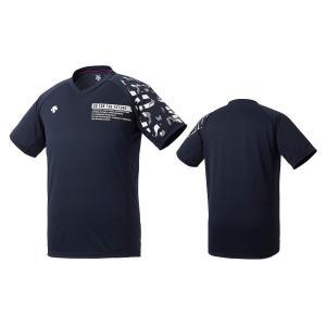 デサント DESCENTE バレーボール 半袖 プラクティスシャツ メンズ レディース DVURJA54-NV ネイビー×パープル|totai