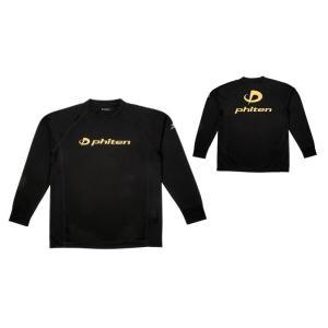 ファイテン phiten tシャツ 長袖 RAKUシャツSPORTS(SMOOTH DRY) (JASPOサイズ規格) メンズ レディース 3120-JG35400 ブラック×金ロゴ|totai
