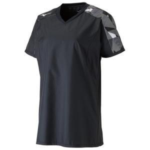 ミズノ(mizuno) ブレーカーシャツ レディース用 半袖ピステ バレーボールウェア ブラック×ブライトホワイト V2ME870190