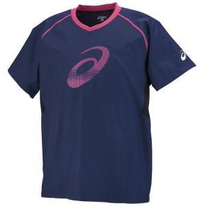 アシックス 半袖ウォームアップシャツ(半袖ピステ)(バレーボールウェア) XWW625(50:ネイビー)|totai