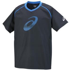 アシックス 半袖ウォームアップシャツ(半袖ピステ)(バレーボールウェア) XWW625(9056:ブラック×ディレクトワールブルー)|totai