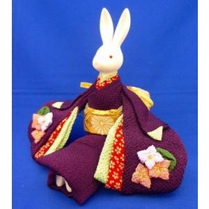 オルゴールきもの人形うさぎ 曲名:「川の流れのように」プレゼントとして、お土産として、お祝いの贈答品として