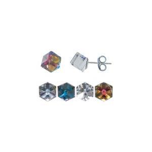1ペア(2個1セット) 材質:シルバー925、4mmキューブガラス サイズ:約W5xH6mm