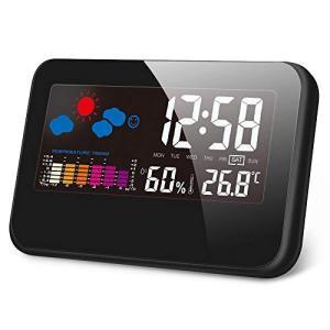 Kungix クロック 時計 デジタル 置き時計 目覚まし時計 LCD大画面 温度計 湿度計 時間/...