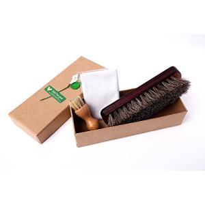 靴ケア用品 お手入れ3点セット レザーケア 100%天然馬毛ブラシ 豚毛ブラシ ケアクロス|totasu888