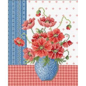 オリムパス製絲 ししゅうキット ポピーとブルーの花瓶 7482|totasu888