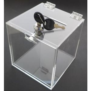 Aoakua アクリル 鍵付き 貯金箱 募金箱 チャリティーBOX W12cm クリア