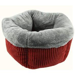 SRrabbit洗える ペット用 ベッド クッション 小型犬 猫 ふわモコ ハウス 防寒 保温 伸縮性に富んだ暖かいベッド (レッド)|totasu888