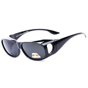 オーバーグラス 眼鏡の上からかけられるサングラス 偏光レンズ UVカット ケース&クロス付き (ブラック)|totasu888