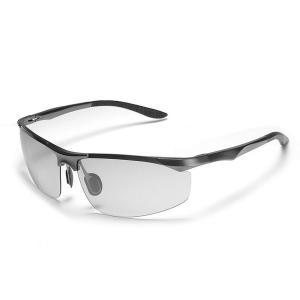 変色調光サングラス 偏光サングラス スポーツサングラス 紫外線に反応して色が変わる変色メガネ 超軽量 アルミニウム・マグネシウム合金 UV4|totasu888