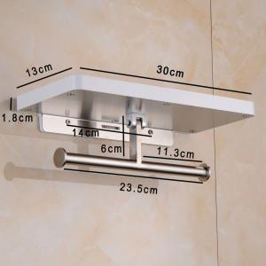 Bathfirst おしゃれ トイレットペーパーホルダー 304ステンレス製 ホワイトペイント 壁掛け ネジ取付 棚付き 小物置き 多機能 totasu888