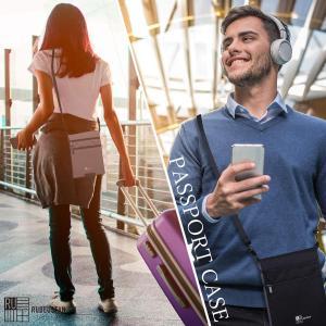 ルビウスタンRUBEUSTAN パスポートケース カバー 首下げ スキミング防止 セキュリティ ポー...