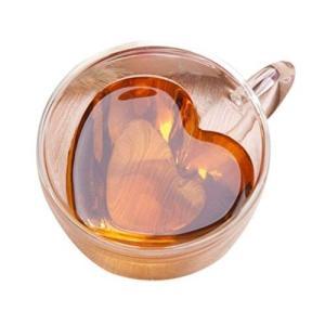 morningplace ダブルウォール ハート グラス ショットグラス 二重構造 耐熱 カップ ギフト プレゼント に (180ml) totasu888