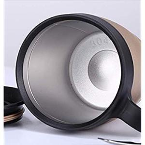 L'amoshare 真空断熱 蓋付き 保温 保冷 マグカップ 330mL (ゴールド 330ml)