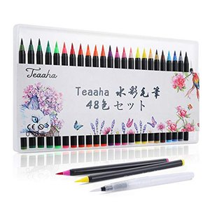 Teaaha 水彩毛筆 48色セット 水性筆ペン 子供の日 プレゼント ギフト カラー筆ペン 水彩ペン 塗り絵 アートマーカー 美術用 事務 totasu888