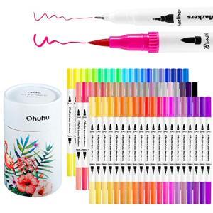 Ohuhu アートマーカーペン 60色 筆先 水彩ペン 水性 ふでタイプ ふで・極細 ブラッシュ 鮮やか イラスト 手帳 絵手紙 色塗り 塗 totasu888