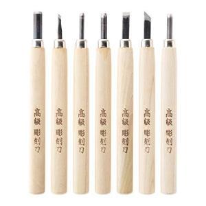 角利 利五郎 彫刻刀セット 全鋼 プラスチックケース入 7本組|totasu888