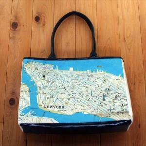 キャンバストートマップNY(ニューヨーク)マンハッタン地図柄Lサイズショルダートートバッグ totemap