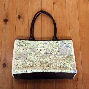キャンバストートマップ東京地図柄Lサイズショルダートートバッグ totemap