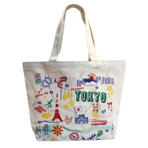 オーガニックコットン手刺繍イラストトートマップ TOKYO 東京マップ|totemap