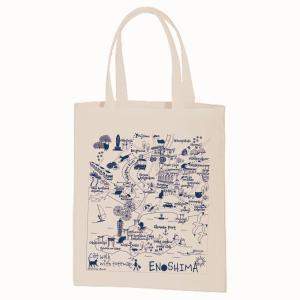 イラスト エコトートマップお散歩猫ちゃんシリーズ 江ノ島(生成り)|totemap
