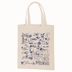 イラスト エコトートマップお散歩猫ちゃんシリーズ 東京(生成り) totemap