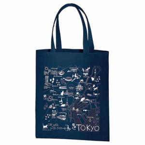 イラスト エコトートマップお散歩猫ちゃんシリーズ 東京(ネイビー)|totemap