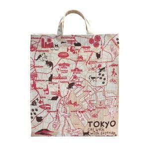 インド製ジュートのショッピングトートバッグ 東京お散歩猫ちゃん|totemap