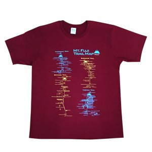 富士山トレイルマップ(登山道)Tシャツ XXLサイズ バーガンディー|totemap