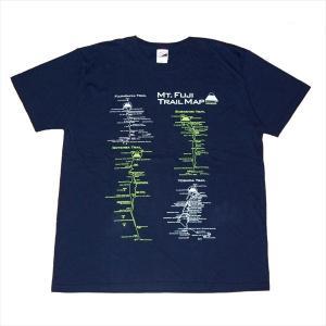富士山トレイルマップ(登山道)Tシャツ  Lサイズ ネイビー|totemap
