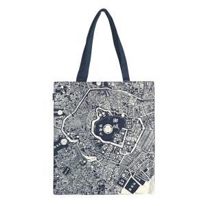 江戸古地図&現在の東京地図 トートマップB4ショルダー キャンバス地ブルー|totemap