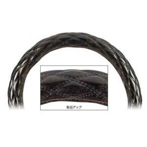 【モコモコダブルステッチハンドルカバー  Aタイプ (太巻き)】ロイヤルブラック40cmφ用|totocar