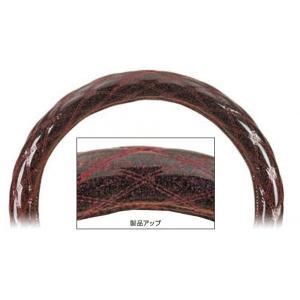 【モコモコハンドルカバー ダブルステッチ 富士 (細巻き)】ワインレッドメタリック 36〜37cmφ用 totocar