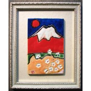 オリジナル美術陶板 赤富士シリーズ・桜|touban-art